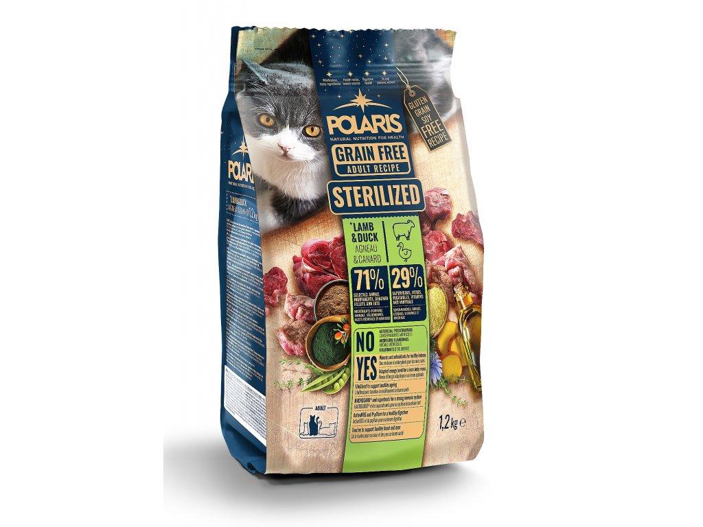 Polaris Cat Steril jehně & kachna 1,2 kg  + Dárek masová hovězí kapsička Dax ZDARMA