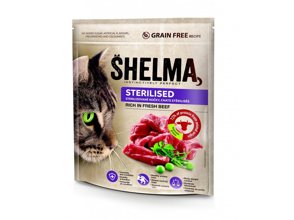 SHELMA Cat Sterilised Freshmeat Beef GF 750 g