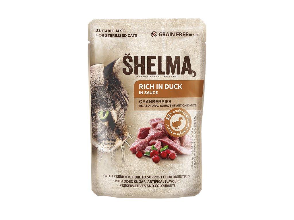 SHELMA Cat kachní s brusinkami v omáčce, kapsa 85 g