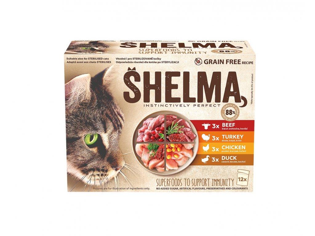 SHELMA Cat kuřecí, hovězí, losos a treska, kapsa 85 g (12 ks)