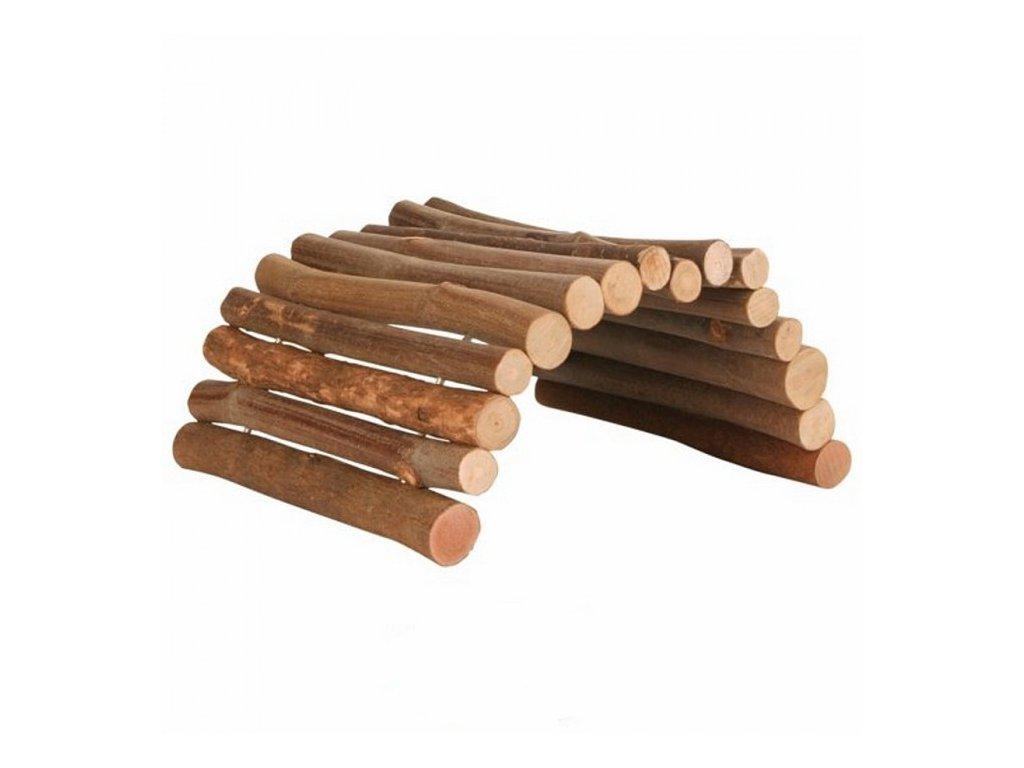 Dřevěný most z kulatých dřívek 28x17 cm pro morče a činčilu  sleva 2% při registraci