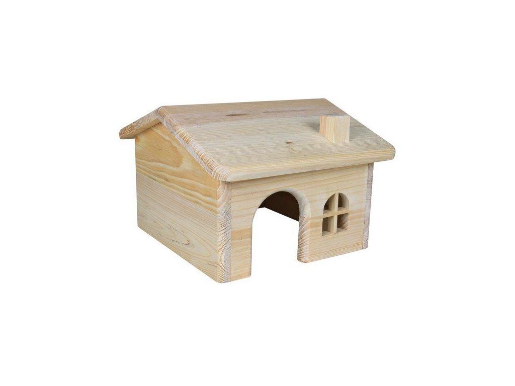 Dřevěný domek se sedlovou střechou pro myši a křečky 15x11x15cm  sleva 2% při registraci