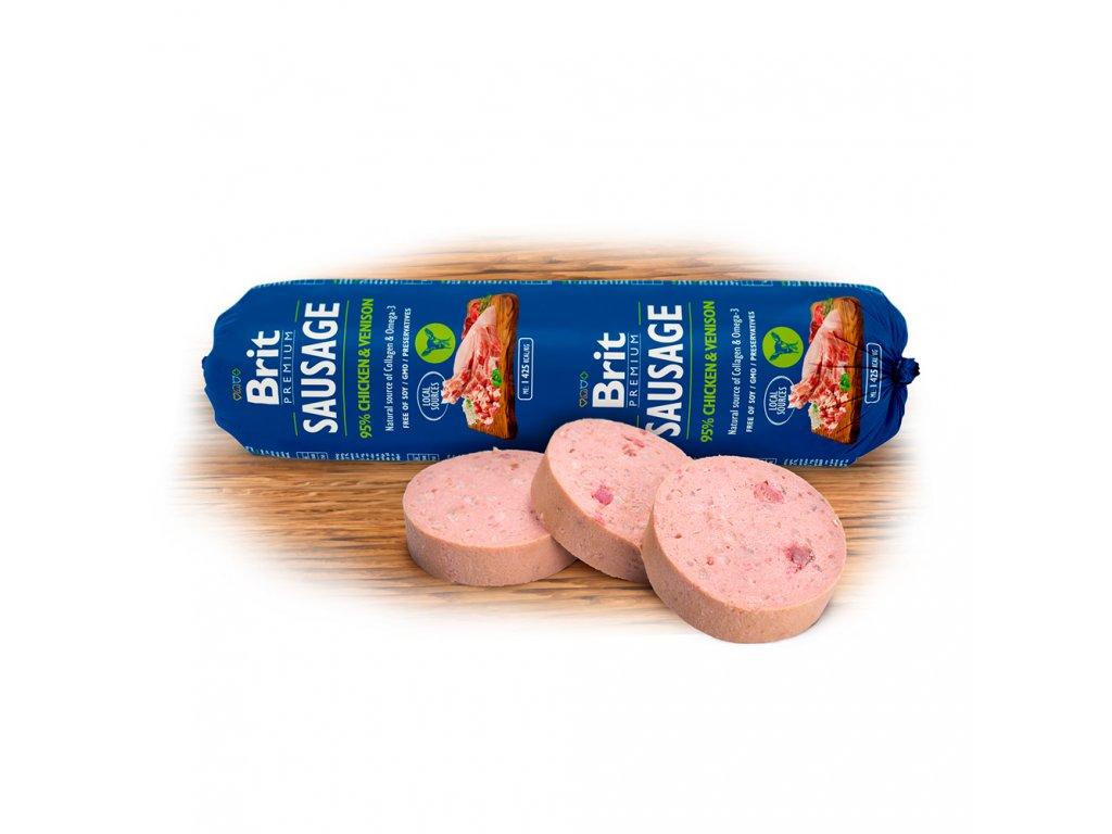 Salám BRIT Premium Dog Sausage Chicken & Venison (800g)