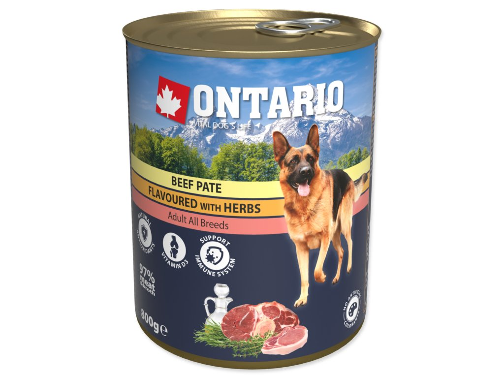 Konzerva ONTARIO Dog Beef, Potatos and Sunflower Oil 6x800g