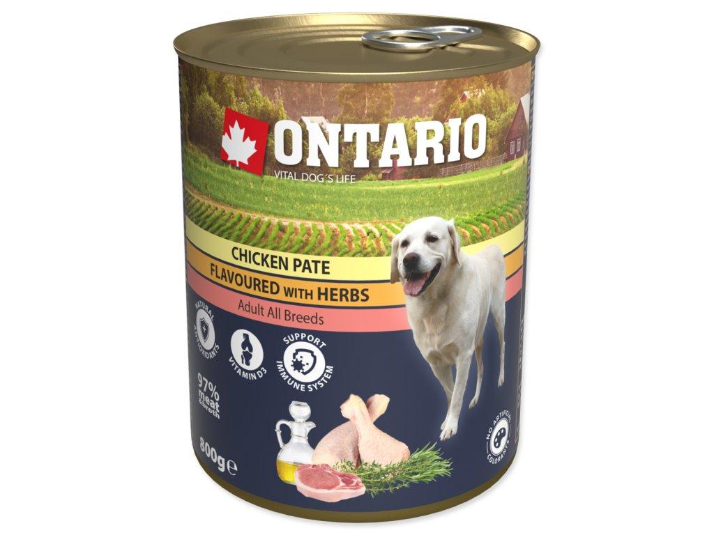 Konzerva ONTARIO Dog Chicken, Carrots and Salmon Oil 6x800g