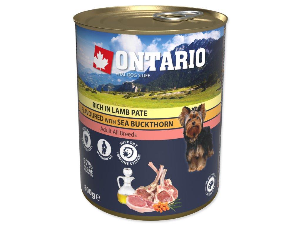 Konzerva ONTARIO Dog Lamb, Rice and Sunflower Oil 6x800g