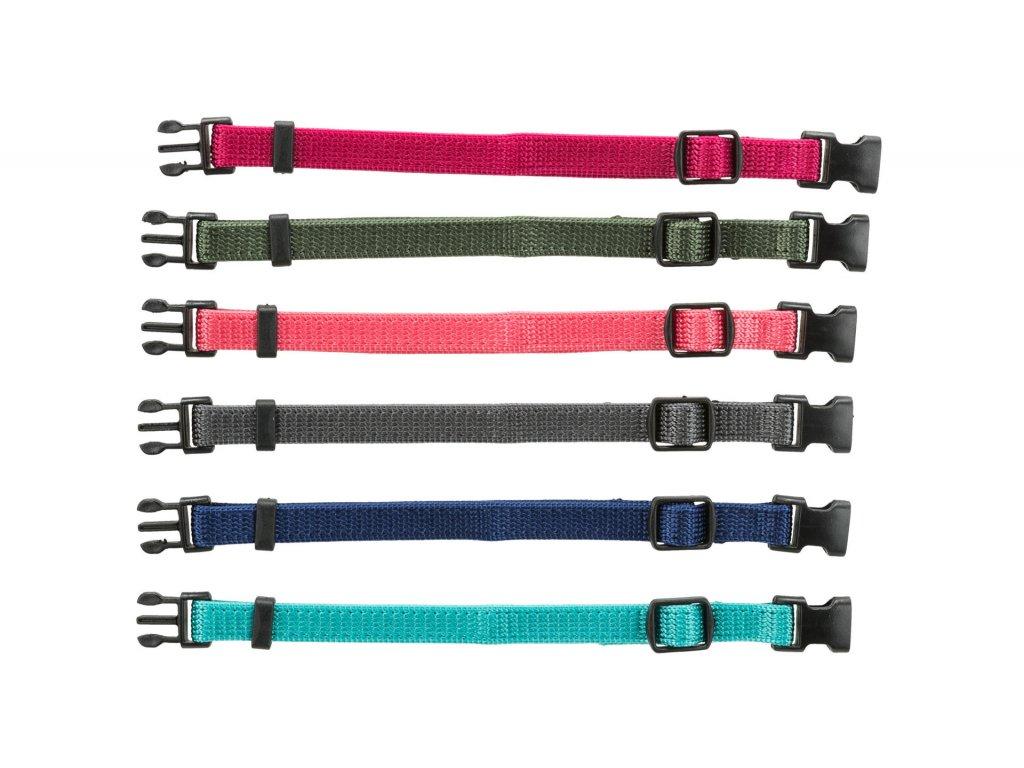 Balení nylon.rozeznávacích obojků pro štěňata M-L 22-35cm/10mm,fuchs,šedá,mod,khaki,korál,tyrkys - 6ks