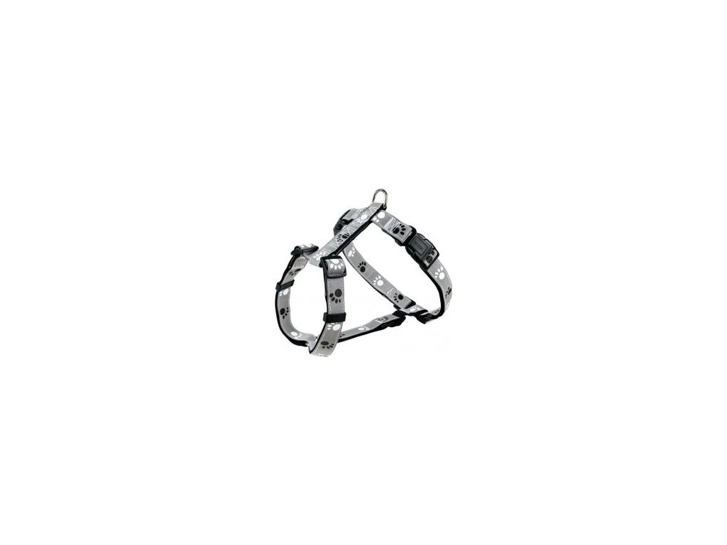Reflexní postroj stříbrný s tlapkami S-M 40-65 cm/20 mm