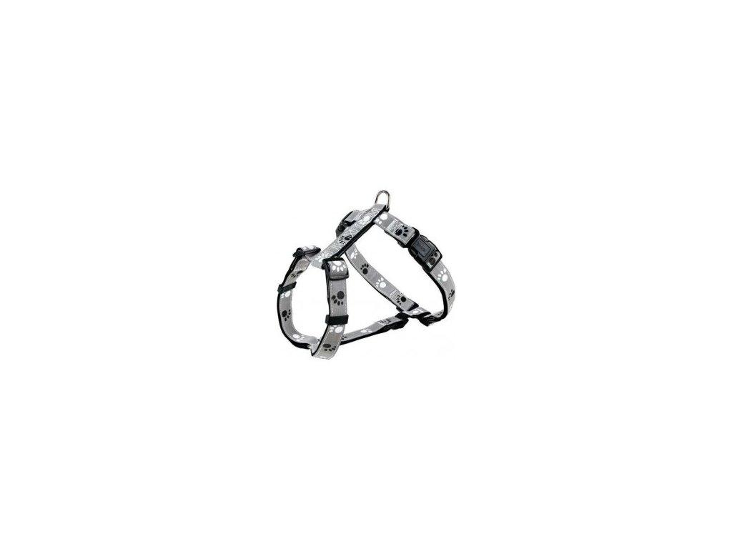 Reflexní postroj stříbrný s tlapkami SILVER REFLECT M-L 50-75 cm/25 mm