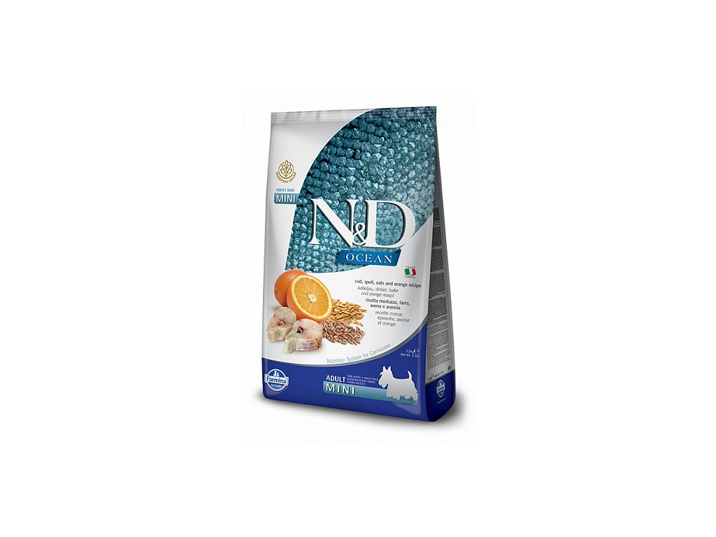 N&D OCEAN DOG LG Adult Mini Codfish & Orange  sleva 2% při registraci