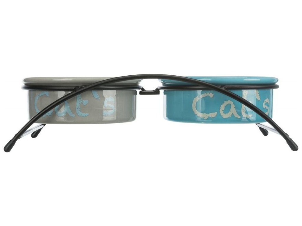 Set keram.misek se stojánkem 2x0,3 l/12cm modrá/oranž/fialov