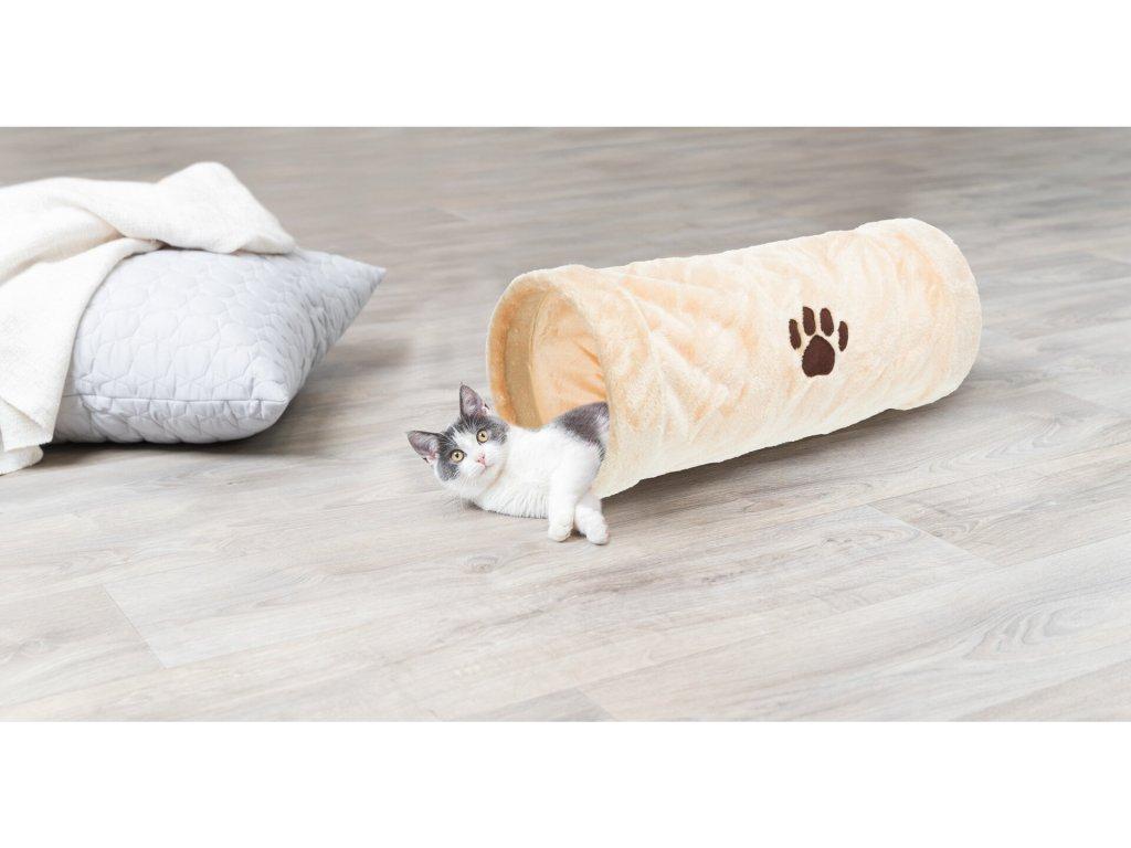 Plyšový tunel pro kočky béžový 22/60cm