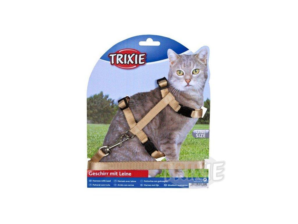 Postroj s rychlouzávěry + vodítko na kočku 26-43cm/10mm 1,2m
