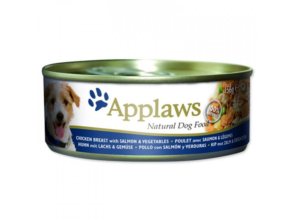 Konzerva Applaws Dog Chicken, Salmon and Rice 156g