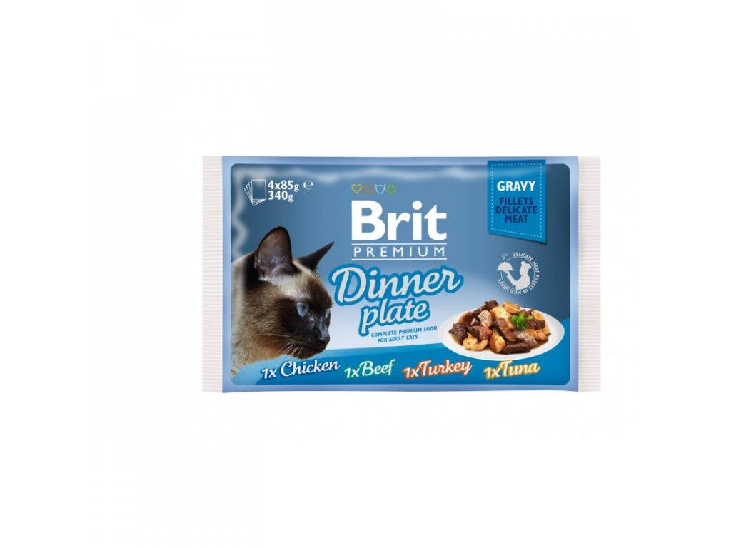BRIT PREMIUM CAT DELICATE FILLETS IN GRAVY DINNER PLATE 340 G (4X85 G)