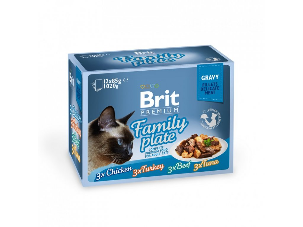 BRIT PREMIUM CAT DELICATE FILLETS IN GRAVY FAMILY PLATE 1020 G (12X85 G)
