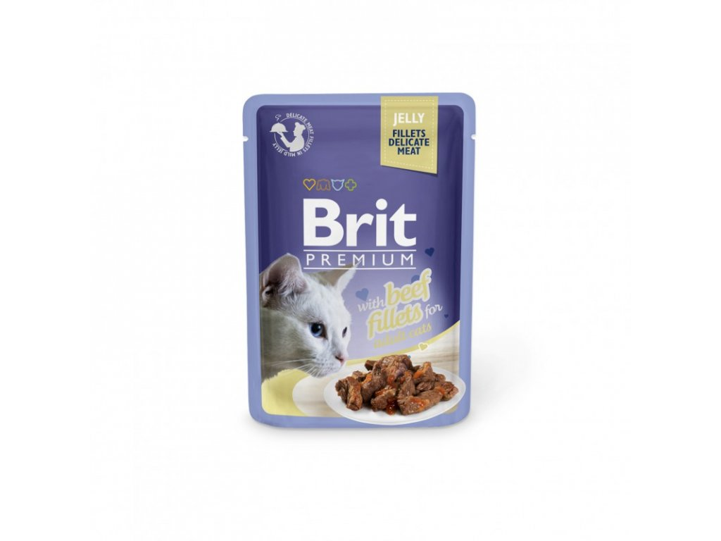 BRIT PREMIUM CAT DELICATE FILLETS IN JELLY WITH BEEF 85 G