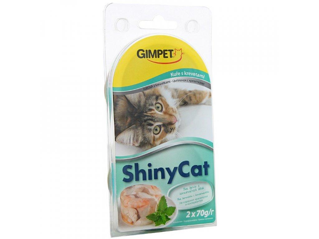 Gimpet kočka konzerva ShinyCat kuře/krevety 2x70g