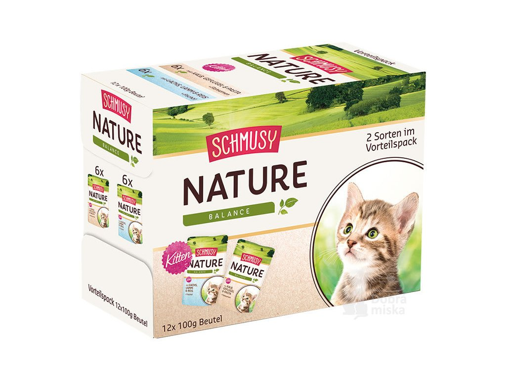 Schmusy Cat Nature Kitten kapsa 2x6x100g multipack+šťáva