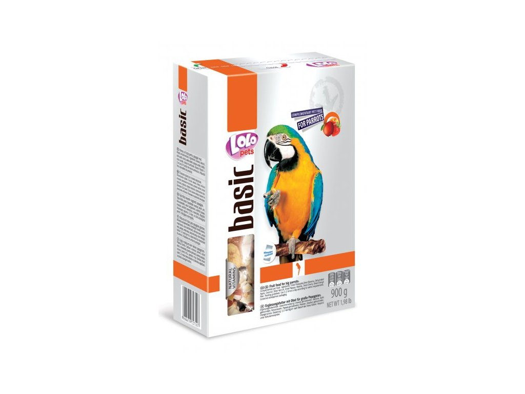 LOLO BASIC Zeleninové a ovocné krmivo pro velké papoušky 900g