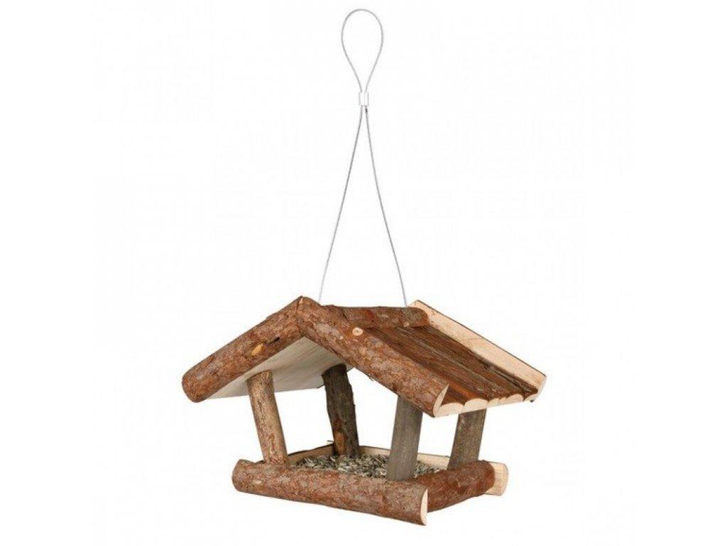 Venkovní krmítko NATURA závěsné, přírodní dřevo 32x23x20 cm