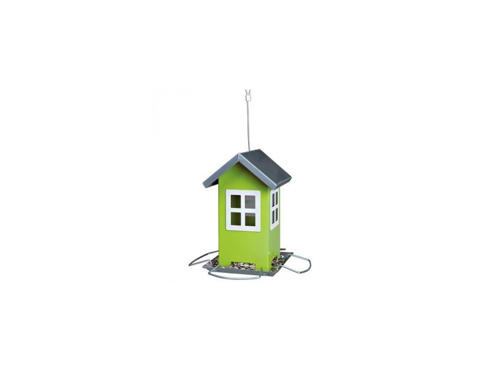 Zahradní krmítko kovové, barevný domeček 19x20x19 cm