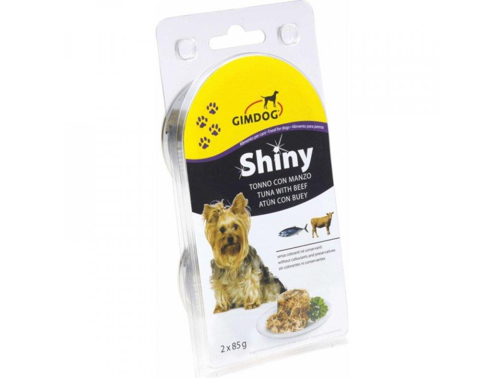 Gimdog konzerva ShinyDog tuňák/hovězí 2x85g