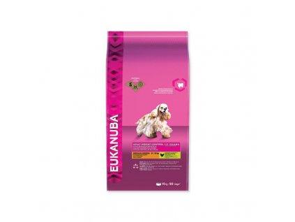 EUKANUBA Adult Medium Light / Weight Control 15 KG  100% kompletní a vyvážené krmivo pro dospělé psy malých a středně velkých plemen, kteří mají nadváhu nebo jsou méně aktivní