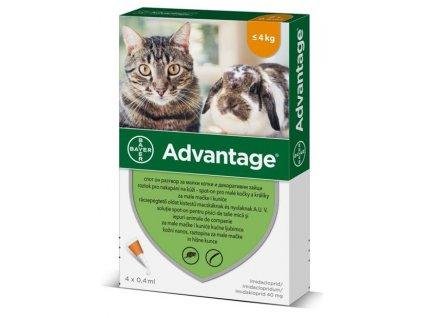 ADVANTAGE 40 10% pro kočky a králíky do 4 kg 4x0,4ml