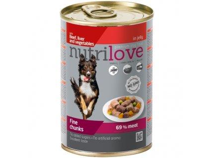 Nutrilove Dog konzerva Kousky hovězí, játra a zelenina 415 g