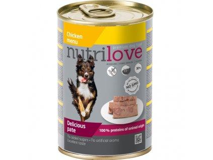 Nutrilove Dog paté konzerva Kuřecí maso 400 g