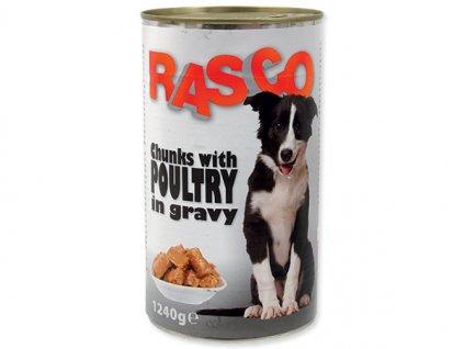 Konzerva RASCO Dog drůbeží kousky ve šťávě (1240g)