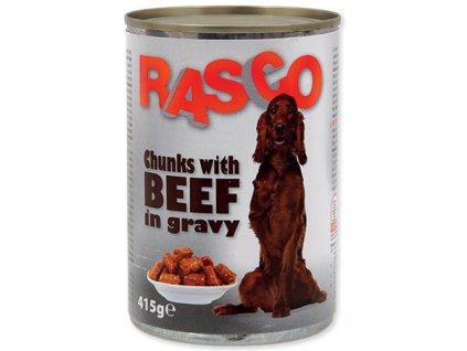 Konzerva RASCO Dog hovězí kousky ve šťávě (415g)