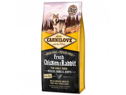 CARNILOVE Fresh Chicken & Rabbit Muscles, Bones & Joints for Adult dogs 12kg