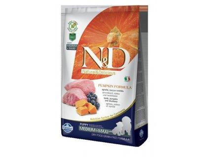 N&D Pumpkin DOG Puppy M/L Lamb & Blueberry  Kompletní krmivo bez obilovin s jehněčím a borůvkami pro štěňata a březí a kojící feny středních a velkých plemen.
