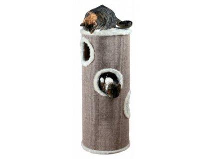 Škrabací válec pro kočky TOWER EDOARDO šedo/krémový 100 cm
