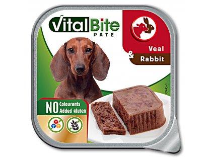 VitalBite vanička masové kousky s telecím a králičím 150g