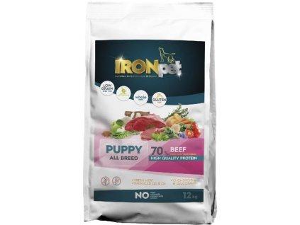 IRONpet BEEF Puppy All Breed 12kg  Superprémiové české bezlepkové granule pro psy s vysokým podílem masa