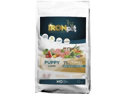 IRONpet TURKEY Puppy Large 12kg  Superprémiové české bezlepkové granule pro psy s vysokým podílem masa
