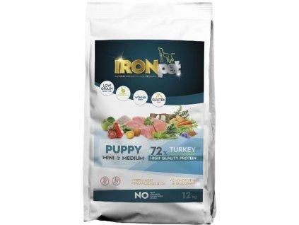 IRONpet TURKEY Puppy Mini & Medium 12kg  Superprémiové české bezlepkové granule pro psy s vysokým podílem masa