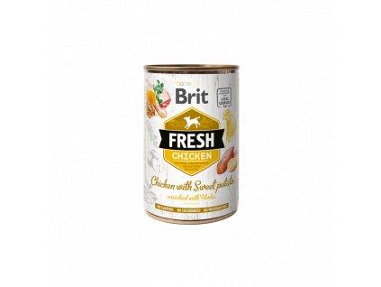 Brit Dog Fresh konzerva Chicken with Sweet Potato 400g  Brit Fresh Cans nabízí delikátní, kompletní a vybalancovanou výživu s masem, orgány, zeleninou, ovocem a bylinkami z lokálních zdrojů.