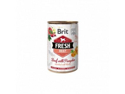 Brit Dog Fresh konzerva Beef with Pumpkin 400g  Brit Fresh nabízí delikátní, kompletní a vybalancovanou výživu s masem, zeleninou, ovocem a bylinkami z lokálních zdrojů.