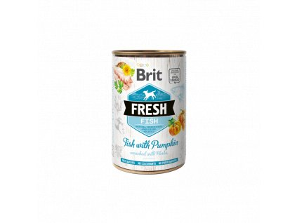 Brit Dog Fresh konzerva Fish with Pumpkin 400g  Brit Fresh nabízí delikátní, kompletní a vybalancovanou výživu s masem, zeleninou, ovocem a bylinkami z lokálních zdrojů.