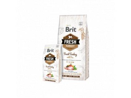 Brit Fresh Turkey with Pea Adult Fit & Slim  Kvalitní a chutné superprémiové granule pro psy snadváhou a seniory, s čerstvým krocanem s hráškem, rýží, aronií, pampeliškou