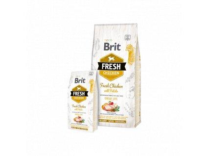 Brit Fresh Chicken & Potato Adult Great Life  Kvalitní a chutné superprémiové granule pro dospělé psy všech plemen s čerstvým kuřetem, brambory, jablkem, pohankou.