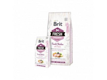 Brit Fresh Chicken with Potato Puppy Healthy Growth  Kvalitní a chutné superprémiové granule pro štěňata a mladé psy s čerstvým kuřetem,  brambory, pohankou, černým rybízem, petrželí. Kompletní krmivo pr