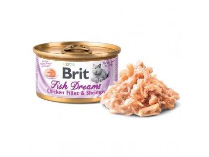 Brit Cat konzerva Brit Fish Dreams Chicken & Shrimps 80g  Brit Fish Dreams nabízí vybalancovanou výživu pro vaši kočku. Obsahuje lahodné kuřecí filety s krevetami ve šťávě.