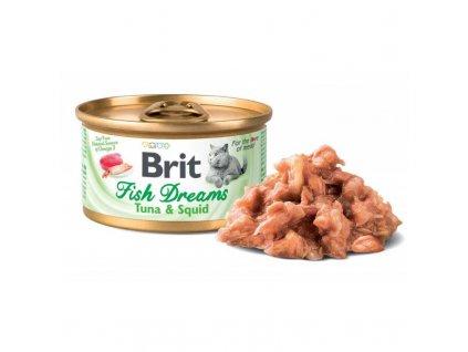 Brit Cat konzerva Brit Fish Dreams Tuna & Squid 80g  Brit Fish Dreams nabízí vybalancovanou výživu pro vaši kočku. Obsahuje lahodného tuňáka a kalamáry ve šťávě.