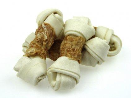 Uzel obalený kuřecím masem-300g  Žvýkací výrobek ze 100% přírodní bůvolí kůže obohacené kalciem doplněný sušeným kuřecím masem.