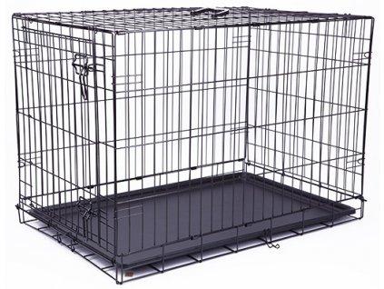 Klec DOG FANTASY skládací černá M - 1 dveře  76 x 53 x 48 cm (1ks)  Drátěná skládací klec s dvířky. Velikost: 76 x 53 x 48 cm
